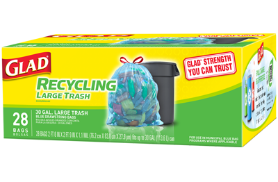 Blue Recycling Bags Large Trash Drawstring Glad 174