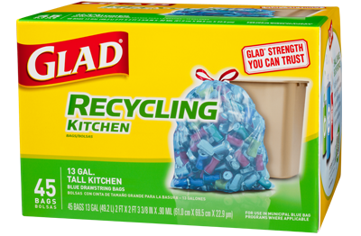 Blue Recycling Bags Tall Kitchen Drawstring Glad 174