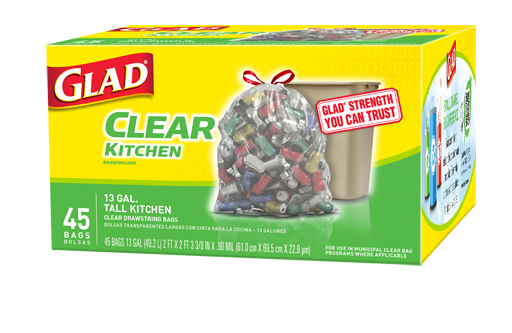 Clear Recycling Bags Tall Kitchen Drawstring Glad 174