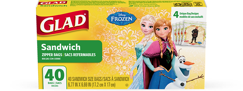 Disney Frozen Collection from Glad<sup>®</sup> Sandwich Zipper Bags