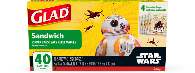Star Wars Collection from Glad<sup>®</sup> Sandwich Zipper Bags