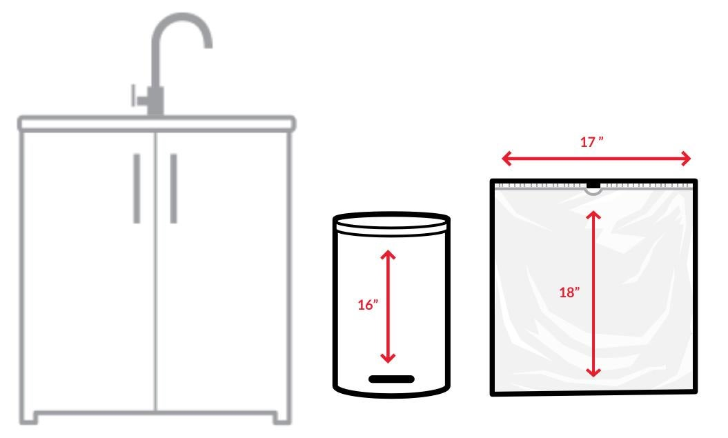 Schematic of a kitchen with measurements