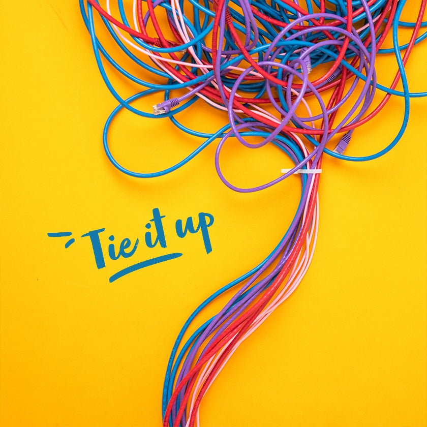 Tie up cords when decluttering your home office