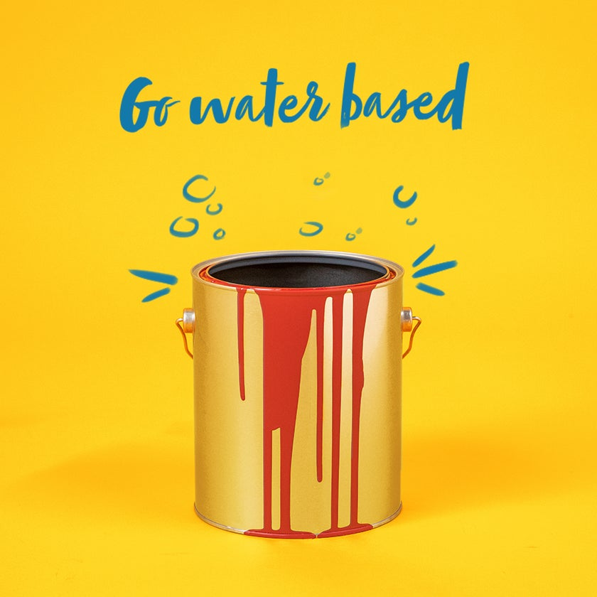 Use water-based paint to reduce waste