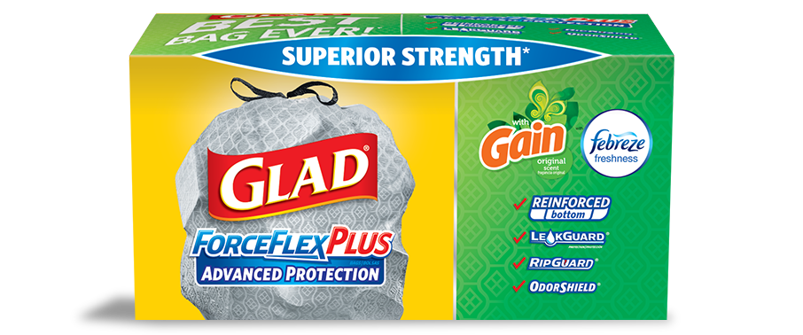 Tall Kitchen ForceFlex<sup>®</sup> Plus™ Advanced Protection Drawstring Bags Gain™ Original Scent