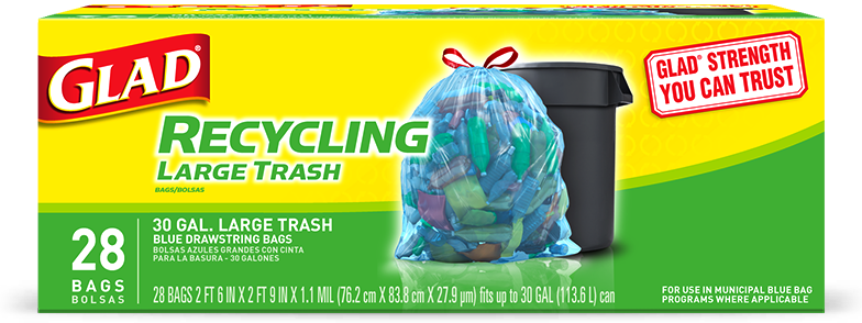Bolsas Grandes Azules para Reciclaje con Tira Ajustable